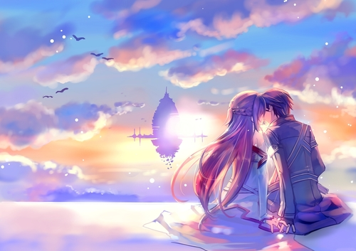 Love-in-heaven-kiss-at-dawn-boy-and-girl